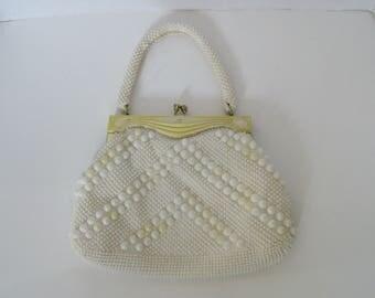 Vintage Beaded Purse White Handbag Made in Hong Kong