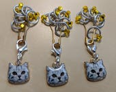 Cat Stitch Markers - Yellow (Fit up to size 4 mm/US6)
