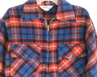 Vintage 60s Wool Flannel Shirt. Mens Small