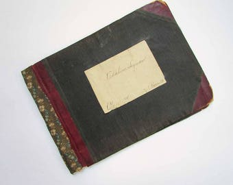 Antique 1912 Student's Hand Written Lessons Notebook with Worn Cloth Covers and Make Do Calico Spine Repair, Antique School Book, Journal