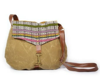 satchel • crossbody purse - waxed canvas bag • guatemalan textile - handwoven cotton - rainbow - brown waxed canvas • every day bag