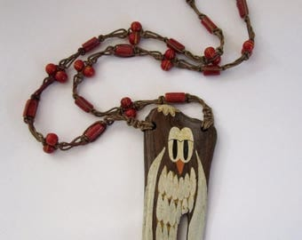 ON SALE- vintage hand painted owl on driftwood pendant with glass beaded macrame knotted cord necklace - j6371