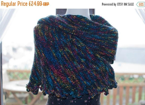 Christmas In July Handknitted Shawl in Black and Various Other Colours