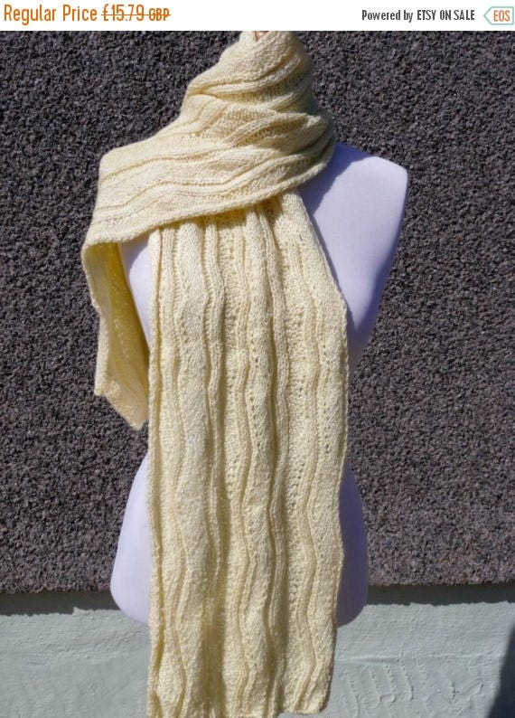 Christmas In July Lovely Yellow Hand Knitted Scarf