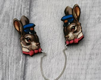 Rabbit Head Collar Clips, Wooden Bunny Accessory, Rabbit Illustration, Animal Brooch, Woodland, Wood Jewelry