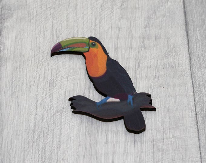 Toucan Bird Brooch, Wooden Bird Brooch, Bird Illustration, Animal Brooch, Wood Jewelry