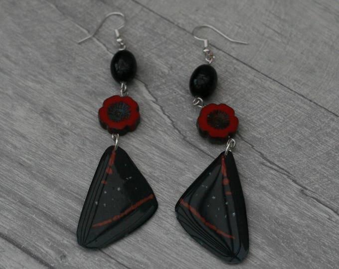 Black and Red Butterfly Earrings, Butterfly Illustration, Dangle Earrings
