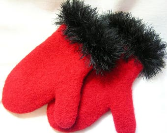 Custom Made Felted Mittens from Designs by Fredericka....Great for Evening Wear...Women's Size Medium
