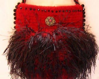Dark Red Beaded Evening Bag