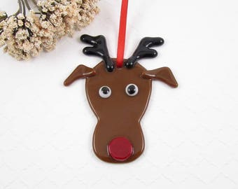 Glass Reindeer Ornament - Fused Glass Reindeer Christmas Ornament - Deer Ornament - Red Nosed Deer Christmas Tree Ornament