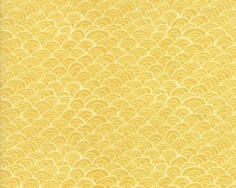 Midnight Garden Fabric // Gold Shells Quilting Fabric  // 1canoe2 // cotton quilting