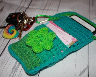 Cross body cell phone holder, smart phone cross body holder, crochet cell phone purse, cross body pouch, cell phone case, gift for woman