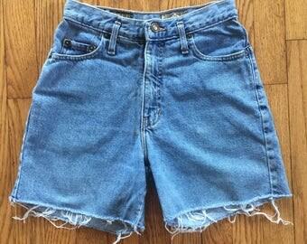 Vintage 90s Express Light Blue High Waist Denim Cut Off Shorts - 26/27 inch waist