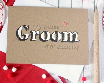 Groom Card. Handmade Wedding Card. Husband Card. Groom Wedding Day Card. Card for my Groom. Wedding Day Card for Groom. Rustic Wedding Card