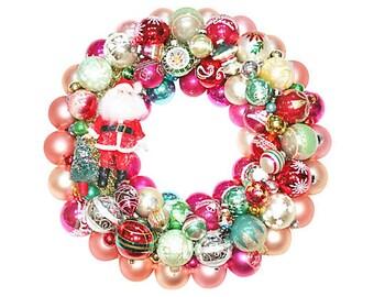 Ornament Wreath, santa wreath, Vintage Ornament Wreath, Glass Ornament Wreath, Ornament Wreaths, Shiny Brite Wreath