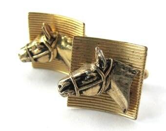 Vintage Men's Cuff Links Anson / Equestrian Horse Cufflinks / Western Ranch Cufflinks / Gold Jewelry / Men's Jewelry / Unisex Cowboy Cowgirl