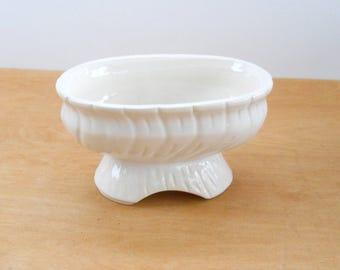 Vintage Ivory Planter • Footer Oval Pedestal Planter • Vintage American Pottery