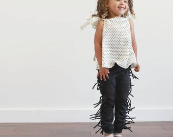 organic Black Fringe leggings