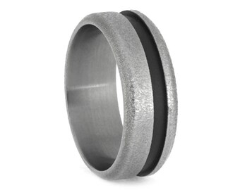 Mens Titanium Ring With Deep Frosted Titanium And A Sandblasted Pinstripe, Two Tone Wedding Band, Manly Ring