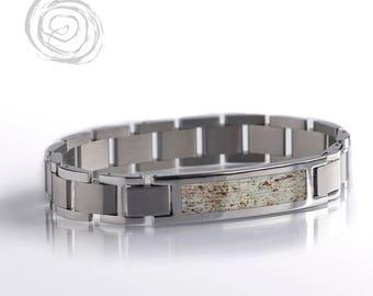 Deer Antler Bracelet, Natural Bracelet Set For Hunters, Antler Jewelry, Stainless Steel Bracelet