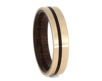 Exotic Wood Wedding Band, Matte 14k Rose Gold Ring For Men or Women With Honduran Rosewood Burl