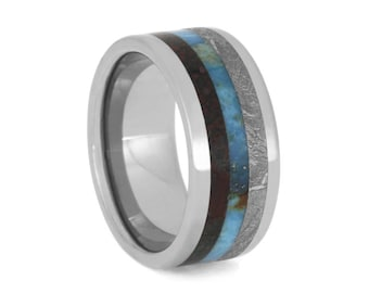 Fossilized Dinosaur Bone Wedding Band, Gibeon Meteorite Ring With Turquoise Center, Men's Titanium Ring