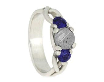 Faceted Meteorite Engagement With Blue Sapphires Accent, Custom Made Sterling Silver Twist Ring, Three Stone Ring