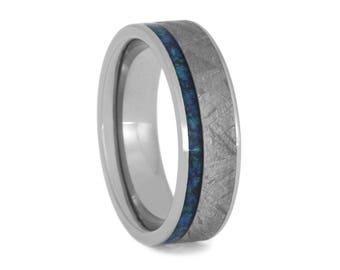 Meteorite Ring With Crushed Synthetic Opal Pinstripe, Men or Women's Titanium Wedding Band, Personalized Ring