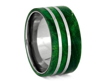 Wide Wood Ring, Green Box Elder Burl Wedding Band With Titanium, Masculine Ring With Green Wood
