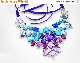 ON SALE On Sale Blue and Purple Rhinestone Statement Necklace, Discount Rhinestone Bib Necklace, Formal Necklace, Military Ball Necklace
