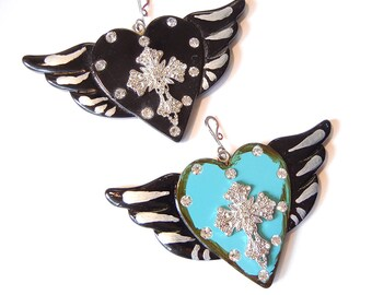 2 Large Resin Hearts with Wings and Cross Silver-tone Pendants