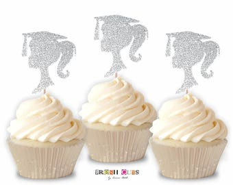 Silver Glitter Graduation Cupcake Topper Girl Silhouette Confetti 2018 Party Decoration Supply Straw Topper 2 1/2 Inch Set Of 15