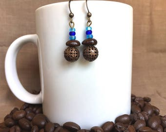 Coffee Bean Earrings - Blue Dot - Authentic Fair Trade Coffee Bean Earrings...FREE U.S. SHIPPING