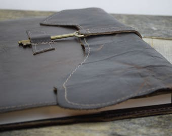 Leather Journal Large 8.5 x 11 brown refillable leather notebook