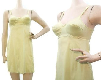 REDUCED 60s Slip Vintage MOD Lemon Lime Bra Mini Van Raalte 34A