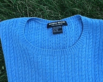 Blue cashmere cable knit crew neck pull over sweater, vintage cashmere, ladies cashmere sweater, vintage sweater, TwoSwansSwimming
