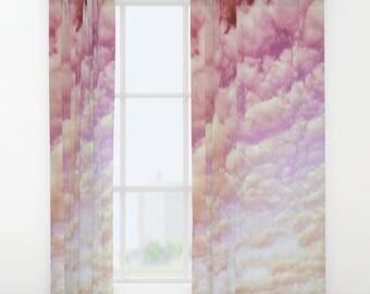 Cotton Candy Sky Window Curtain, Nature Curtain, Decorative, Unique Design, Happy Decor, Office Window Curtain, Dorm, Campus, Cloud Sky,Pink