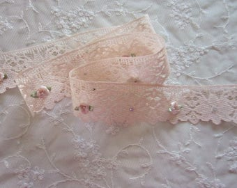 PEACH Lace RibbonTrim Embellished w Stone Rhinestone w Satin Rose Bud Flower Baby Doll Pageant Bridal Sewing