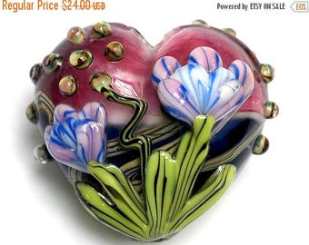 ON SALE 35% OFF 11804225 Grace's Garden Heart (Large) - Handmade Glass Lampwork Bead