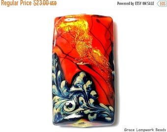 ON SALE 30% off 11836503 Bonfire Shimmer Kalera Focal Bead - Handmade Glass Lampwork Beads