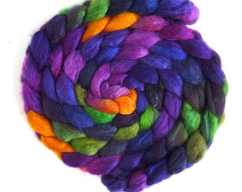 Blueface Leicester/ Tussah Silk Roving (Top) - Handpainted Spinning or Felting Fiber, Maypop