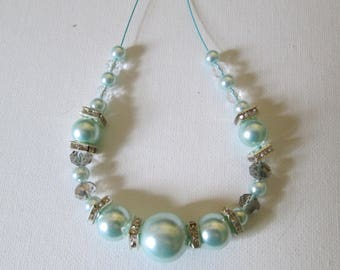 Blue Glass Pearls and Crystal Rondelles