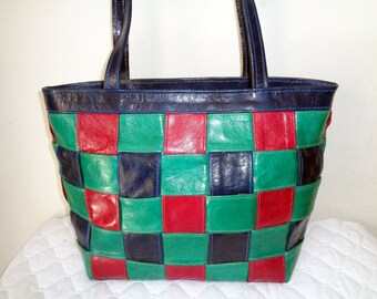 Handmade in USA vintage Glazed leather top zip tote , purse, shoulder tote, bright colors near mint condition