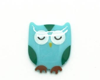Plastic - OWL - tone green turquoise cabochon