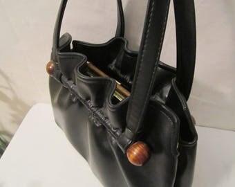 """Vintage """"Leather"""" handbag purse, Mid-Century bag, Womens vintage 50s"""
