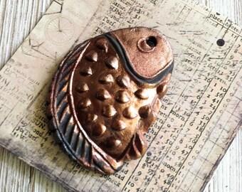 Viking Invasion  Medallion Copper Gold Rust Raku Cosplay Pendant