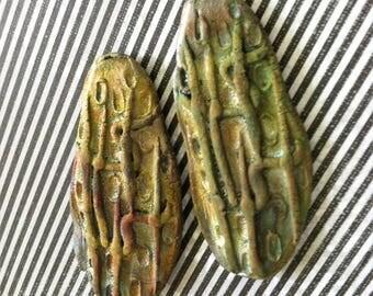 270. Wondrousstrange Raku The Strain  The Worm Vampiric Virus Steampunk Organic Moss Green Bronze Two Raku Cabochons