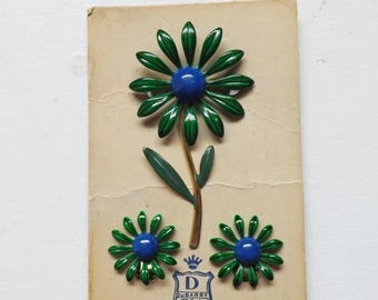 On Sale Vintage DuBarry enamel flower pin or brooch and earrings set blue and green on original card nos