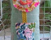 Hope Stitched on Raggy Flower Pillow Ready to Ship YelliKelli