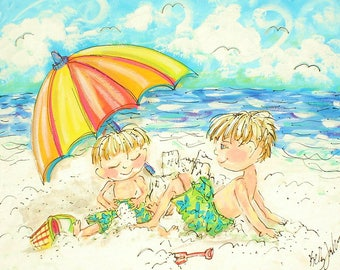 Beach Painting of YOUR CHILD  Made To Order from Photo YelliKelli